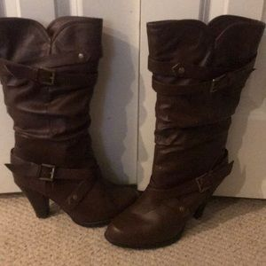 Brown heeled boots size 10